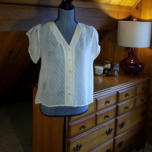 H&M sheer short sleeve ivory button up top, sz 10