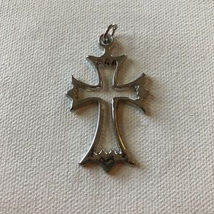 Silver cross necklace charm