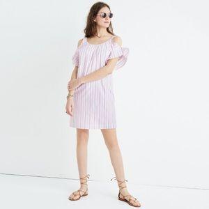 NWT MADEWELL Rose Stripe Cold Shoulder Dress
