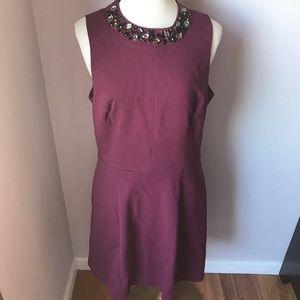 Eliza J. Plum/ Burgundy Jeweled Neck Dress Sz 8