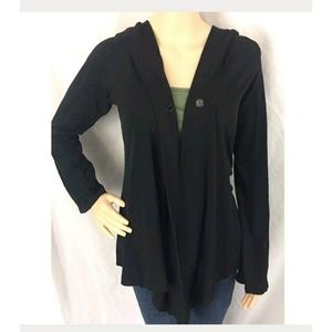 Hard Tail Black Hooded Cardigan Cape