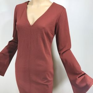 Forever 21 Burnt Orange Bell Sleeve Dress
