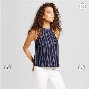 navy and white Mossimo halter top