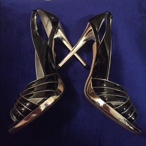 Aldo Black and Silver Open Toe Heels