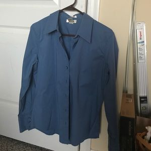 Blue button down blouse