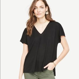 Ann Taylor Shirred Back Top Black