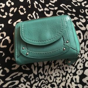 Turquoise leather Fossil wallet