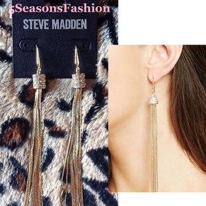 💋Steve Madden Gold Tassel Earrings Rhinestone Bal