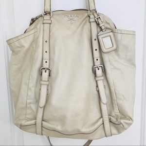 PRADA Leather Tote Beige with Straps