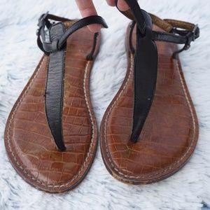 Sam Edelman Gigi Black Thong Buckle Sandals sz 6.5