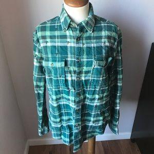 Merona Green Flannel Plaid Bird Button Up Shirt M