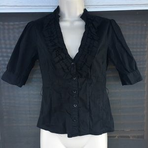 Black Button-Up 3/4 Sleeve with Ruffled Collar