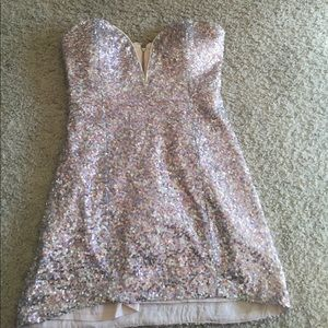 Nasty gal - pink sequin / sparkly dress (size 4)