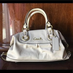 Coach Ashley Learher Satchel, Ivory with Gold