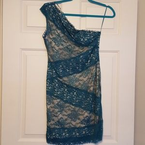 Blue Lace fitted Event Dress