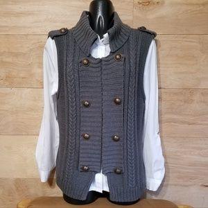Hannah Gray Buttoned Lapel Sweater Vest - Size Lg