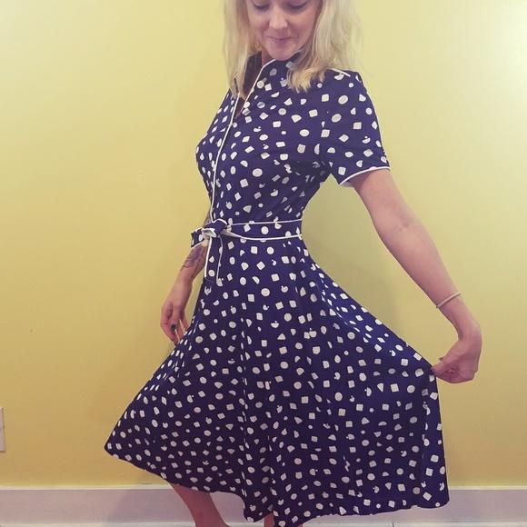 afba59458 Vintage Dresses | Vtg Polka Dot Aline Dress W Tie Belt | Poshmark