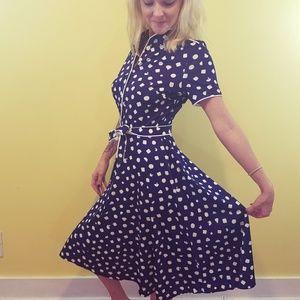Vtg Polka Dot A-Line Dress w/ Tie Belt