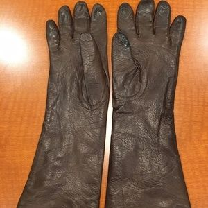 Accessories - LONG BROWN LEATHER GLOVES, NICE LINING, SIZE M