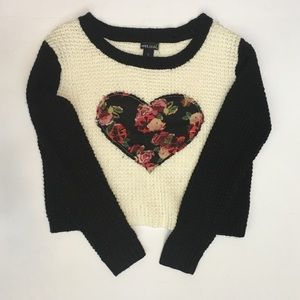 Wet Seal Crop Sweater with Floral Heart