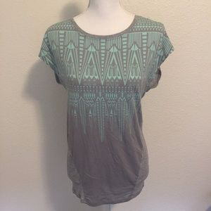 Cabi Aztec Teal & Gray T-Shirt Size S