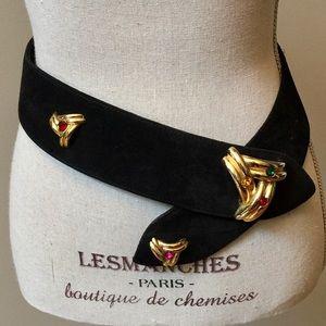 VARLET de LAGRANGE Vintage Jeweled Suede Belt