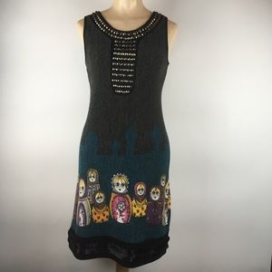 Embellished Russian nesting doll print dress