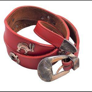 Vintage 100% Genuine Leather Western Red Belt