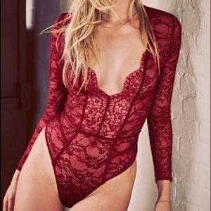 New! VS Red Long Sleeve Red Lace