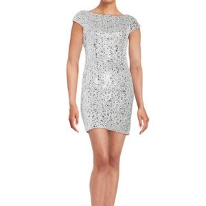 Adrianna Papell Sequined Lace Cap-Sleeve Sheath