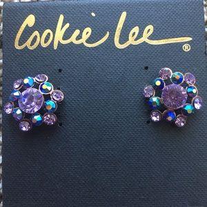Cookie Lee Vivi Lavender Crystal Cluster Earrings