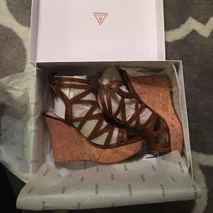 Size 6 Brown platform wedges from GUESS