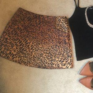 Animal print silky mini skirt