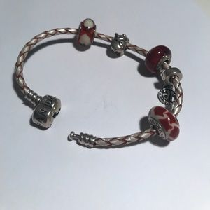 "Pandra bracelet with wood, dog, glass & ""16"" beads"