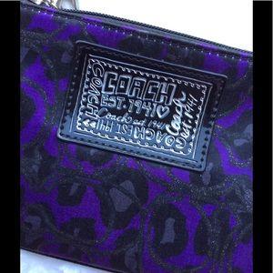 Coach Wristlet Purple and Black Animal Print