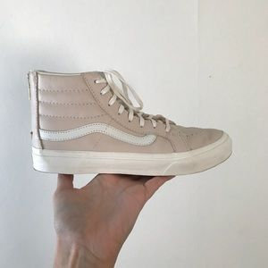 blush leather high top vans with gold zipper