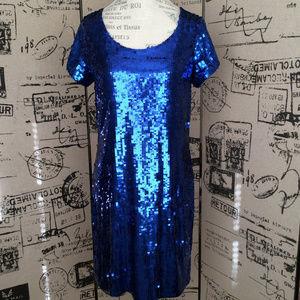 Betsey Johnson Blue Cobalt Sequin Dress Size M