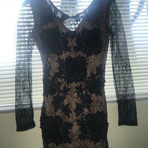 Long sleeve Floral Lace Black and Nude Dress