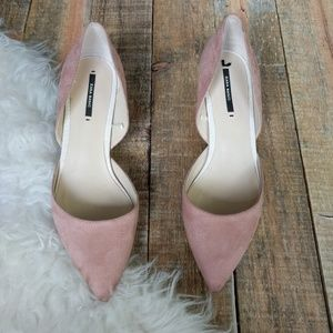 Zara basic blush kitten heels faux suede size 38