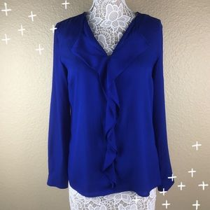 The Limited ruffle front top in royal blue size M