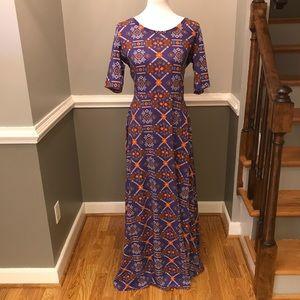 Lularoe Ana dress purple orange print