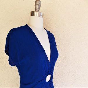 Vintage Royal Blue Boho Plunging V-neck Maxi