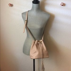 J. Crew Pale Pink Leather Mini bucket Crossbody