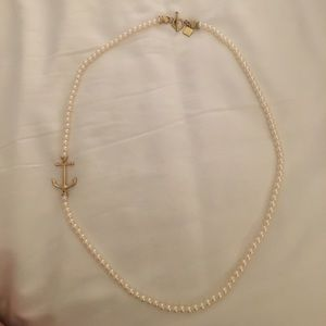 Fornash long pearl anchor necklace NWOT