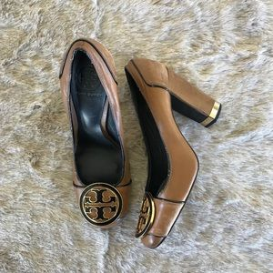 Tory Burch Brown Leather pumps Heels Size 81/2