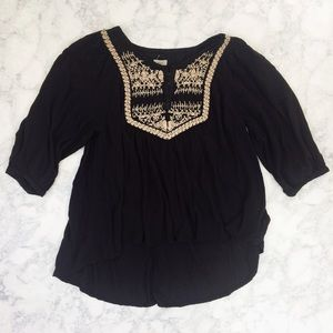 UO Peasant Top With Tan Embroidered Details
