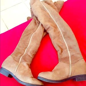 Shoes - Brown Faux Suede Over Knee Boots