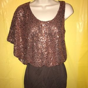 One Shoulder Bronze Sequin Mini Dress
