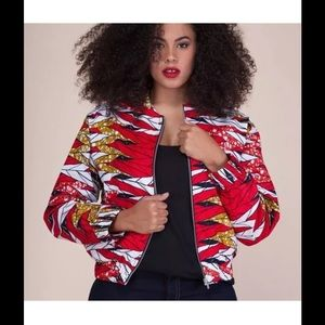 Jackets & Blazers - Grass-Fields African Print Bomber Jacket