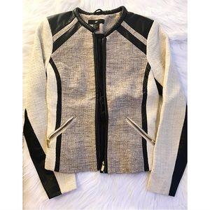 Black and White Tweed Zip Up Jacket